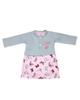 - ست کت و پیراهن نوزادی مدل پروانه کد 3314 - طوسی صورتی