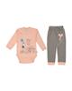 لباس نوزادی - ست بادی و شلوار نوزادی دخترانه رویش کد 116 - گلبهی طوسی