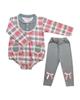 لباس نوزادی - ست بادی آستین بلند وشلوار نوزادی مدل پارمیس کدTB-G-AR-صورتی طوسی