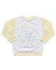 OVS تی شرت آستین بلند نوزادی مدل fago - سفید زرد لیمویی - نخ