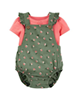 Carters ست تی شرت و سرهمی نوزادی دخترانه مدل 1444 -گلبهی زیتونی - طرح گل