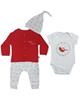 وچیون ست 4 تکه لباس نوزادی مدل YLD - سفید قرمز طوسی روشن