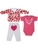 - ست 3 تکه لباس نوزادی دخترانه طرح قلب کد 3085 - سرخابی قرمز