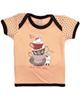 آدمک تی شرت آستین کوتاه طرح فنجان وخرگوش - گلبهی قهوه ای