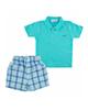Fiorella ست پولوشرت و شلوارک نوزاد پسرانه مدلfi-2002 -سبز آبی سفیدسرمه ای