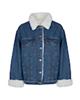 Jeanswest کاپشن جین زنانه - آبی - سرآستینها و یقه بافت سفید