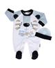 آدمک ست لباس پسرانه مدل 01 1314011 - سفید آبی کمرنگ سرمه ای - طرح خرس