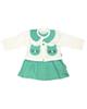 - ست کت و سارافون نوزادی دخترانه طرح گربه کد 03 - سبز سفید
