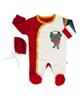 لباس نوزادی - ست سرهمی و کلاه نوزادی آدمک طرح گربه بازیگوش - سفیدقرمز