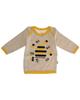 آدمک تی شرت آستین بلند نوزادی مدل Bee - کرم زرد مشکی - طرح زنبور عسل