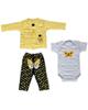 - ست 3 تکه لباس نوزادی دخترانه طرح پروانه کد 3048 - زرد سفید