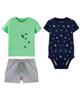 Carters ست 3 تکه لباس نوزادی پسرانه کد 1182 - سرمه ای سبز طوسی