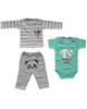 - ست 3 تکه لباس نوزادی پسرانه طرح راکن کد 3045 - طوسی سبز