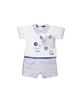 Fiorella سرهمی نوزادی پسرانه مدل fi-2009 -سفید طوسی آبی -طرح چاپی کارتونی