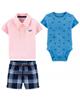 Carters ست 3 تکه لباس نوزادی پسرانه کد 1281 - آبی صورتی سرمه ای
