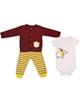 وچیون ست 3 تکه لباس نوزادی مدل Bbear R-Y - سفیدزرشکی زرد - طرح خرس