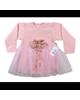 لباس نوزادی - پیراهن نوزادی نیروان مدل ملکه کد 1 - صورتی - طرح دار