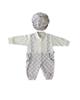 لباس نوزادی - ست سرهمی و کلاه نوزادی گایه مدل G-01 - سفید طوسی