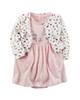 Carters ست کت و پیراهن نوزادی دخترانه طرح گربه کد M437 - سفیدصورتی