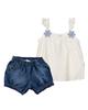 Fiorella ست تاپ و شلوارک نوزاد دخترانه مدل fi-2053 - سفید آبی - نخپنبه