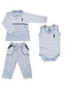 - ست 3 تکه لباس نوزادی پسرانه کد 004 - آبی روشن