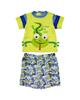 - ست تی شرت و شلوارک نوزادی پسرانه طرح مارمولک کدM291-سبزفسفری آبی