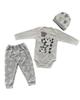 - ست 3 تکه لباس نوزادی طرح پاندا مدل LS 106 - طوسی روشن
