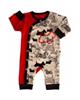 آدمک سرهمی نوزادی مدل Dog Red - قرمز کرم مشکی - طرح دار