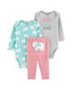 Carters ست 3 تکه لباس نوزادی دخترانه طرح Cozy کد M369 -طوسی سبزآبی گلبهی
