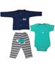- ست 3 تکه لباس نوزادی پسرانه طرح لاک پشت کد 3261 - سبزآبی سرمه ای