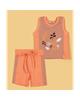 Piano ست دو تکه تاپ و شلوارک نوزاد پسرانه-نارنجی -طرح راهراه -نخپنبه