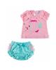 Fiorella ست تیشرت و شورت نوزاد دخترانه مدلfi-2029 -صورتی سبز آبی -نخپنبه