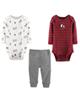 Carters ست 3 تکه لباس نوزادی پسرانه کد 1012 - زرشکی سفیدطوسی - طرح دار