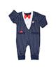لباس نوزادی - سرهمی نوزادی آدمک کد 02 - سرمه ای با پاپیون قرمز