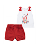 Fiorella ست تاپ و شلوارک نوزاد دخترانه مدلfi-2017 -سفید قرمز -طرح کارتونی