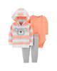 Carters ست 3 تکه لباس نوزادی مدل 1382 - نارنجی طوسی سفید - طرح کوآلا