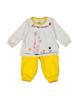 آدمک ست تی شرت و شلوار دخترانه مدل 2171146-19 - سفید زرد - طرح دار
