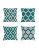 رنگار شاپ کاور کوسن مدل pwst002 مجموعه 4 عددی - سفید سبزآبی - طرح دار