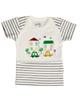 آدمک تی شرت آستین کوتاه نوزادی مدل Car - سفید راه راه مشکی