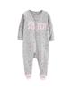 لباس نوزادی - سرهمی نوزادی دخترانه کارترز کد 1153 - طوسی روشن طرح خالخالی