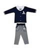 - ست تی شرت و شلوار نوزادی کد 001 - سرمه ای خاکستری