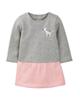 lupilu پیراهن نوزادی دخترانه کد VE017 - طوسی گلبهی - نخ