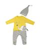 لباس نوزادی - ست سرهمی و کلاه نوزادی وچیون مدل cute elephant -زرد سفید سرمه ای