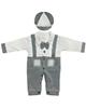 لباس نوزادی - ست سرهمیو کلاه نوزادی مدل شازده کد GR - سفیدطوسی