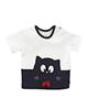 polonyx تی شرت آستین کوتاه پسرانه طرح گربه کد 017 - سفید مشکی