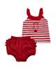 Fiorella ست تاپ و شورت نوزاد دخترانه مدل fi-2022 - سفید قرمز -طرح راهراه