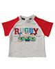 polonyx تی شرت نوزادی طرح راگبی مدل 017 - طوسی قرمز - آستین کوتاه