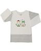 آدمک تی شرت نوزادی پسرانه مدل Car - سفید راه راه مشکی - آستین بلند
