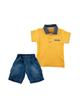 Fiorella ست پولوشرت و شلوارک نوزاد پسرانه مدلfi-2011 -زرد آبی -طرح جودون
