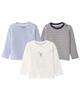 lupilu تی شرت نوزادی کدB-03مجموعه سه عددی-آبی-سفید-راه راه سفید سرمه ای